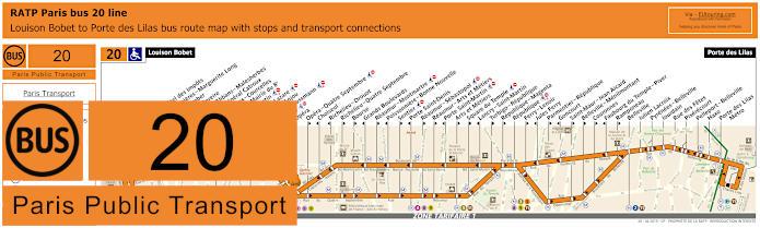 Paris Bus Line 20 Map With Stops
