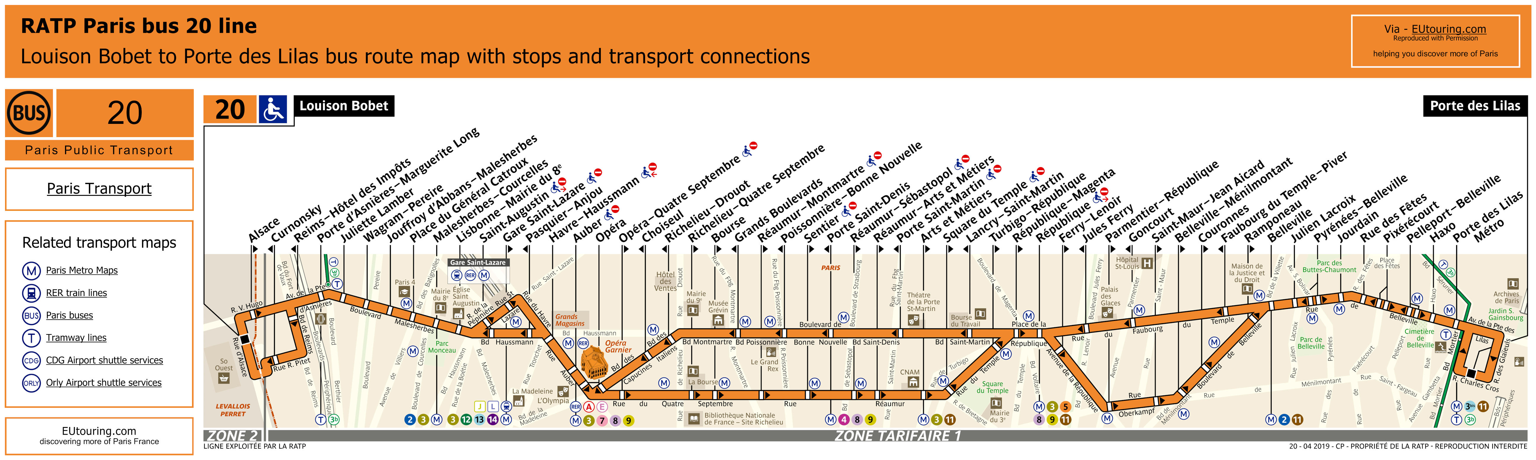 Download Paris bus route maps with stops, connections and street plan for your mobile device or PC in PDF format or as an image file with over 12,000 bus stops, updated 2019.