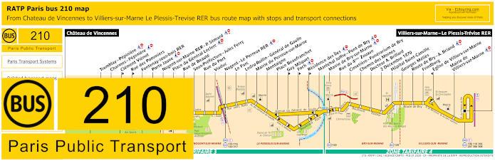 Paris Bus Line 210 Map With Stops