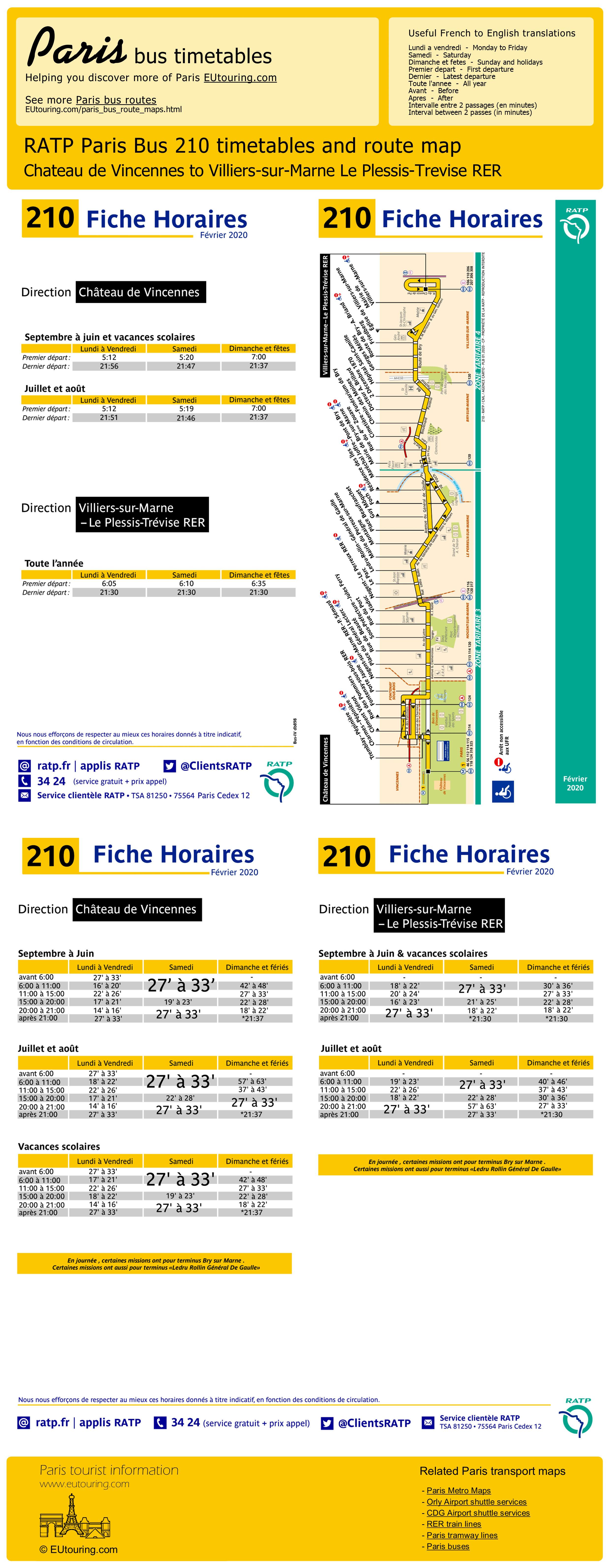 Ratp Bus Maps Timetables For Paris Bus Lines 210 To 219