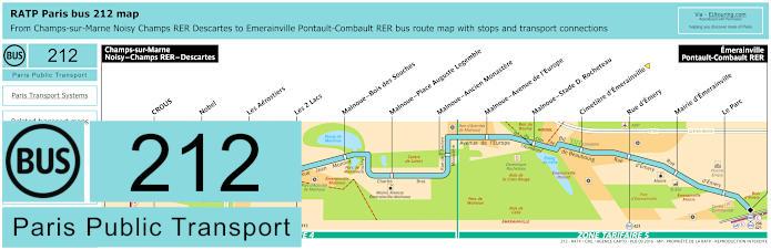 Paris Bus Line 212 Map With Stops