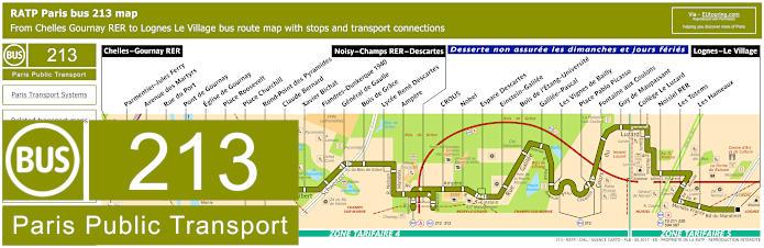 Paris Bus Line 213 Map With Stops