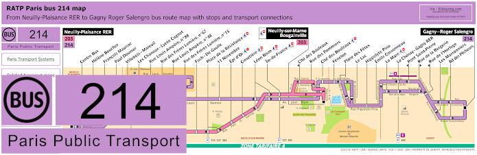 Paris Bus Line 214 Map With Stops