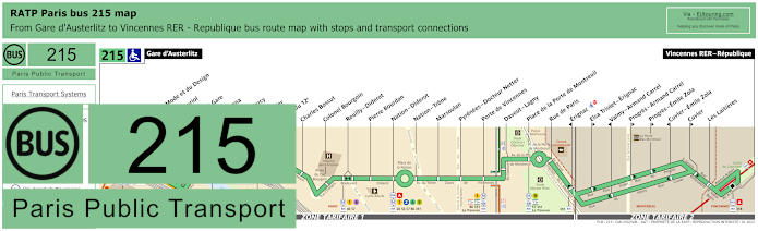 Paris Bus Line 215 Map With Stops