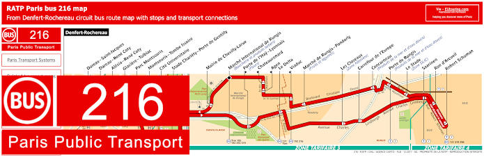 Paris Bus Line 216 Map With Stops