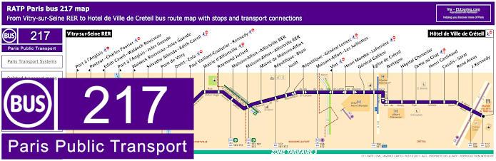 Paris Bus Line 217 Map With Stops