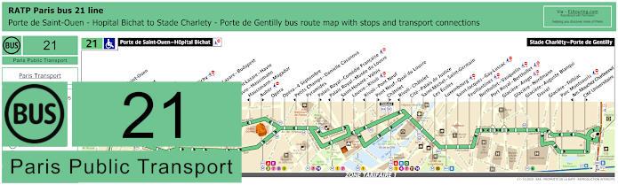 Paris Bus Line 21 Map With Stops