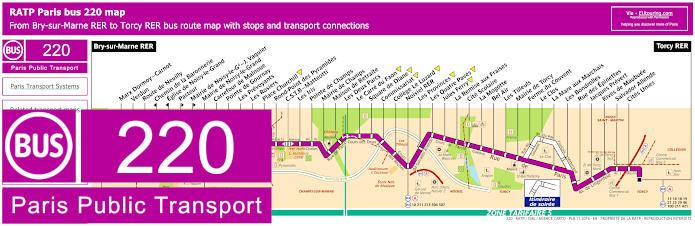 Paris Bus Line 220 Map With Stops