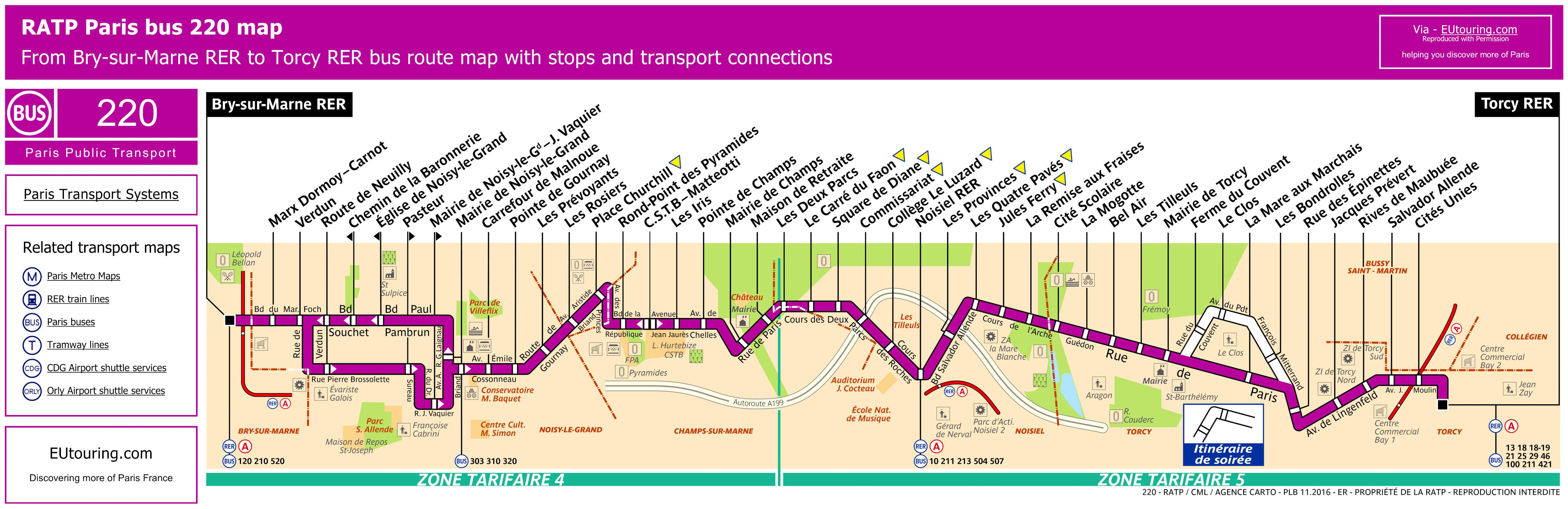 Ratp Bus Maps Timetables For Paris Bus Lines 220 To 229