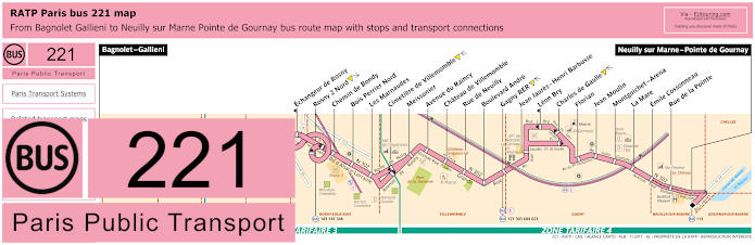 Paris Bus Line 221 Map With Stops