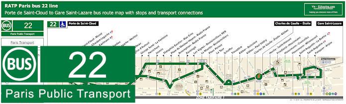 Paris Bus Line 22 Map With Stops