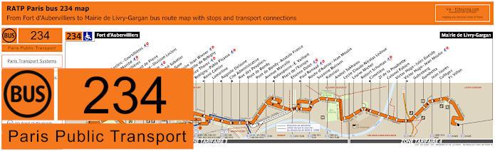 Paris Bus Line 234 Map With Stops