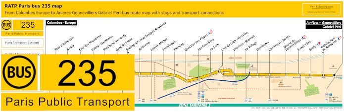 Paris Bus Line 235 Map With Stops