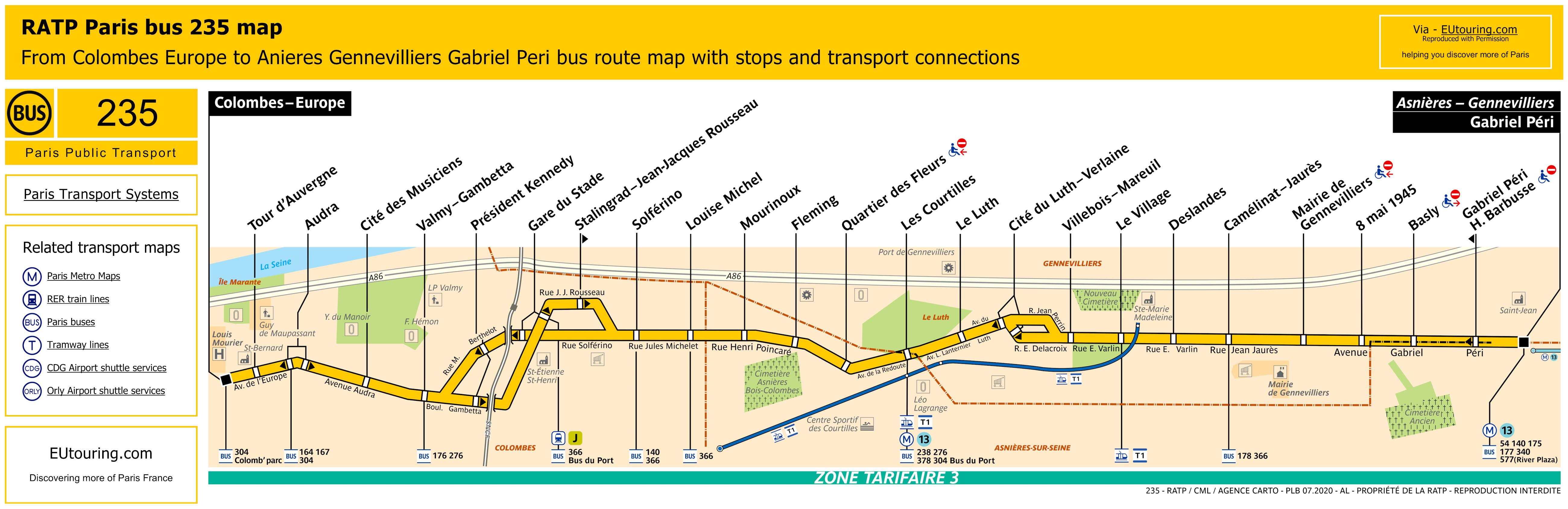 RATP route maps for Paris bus lines 230 through to 239
