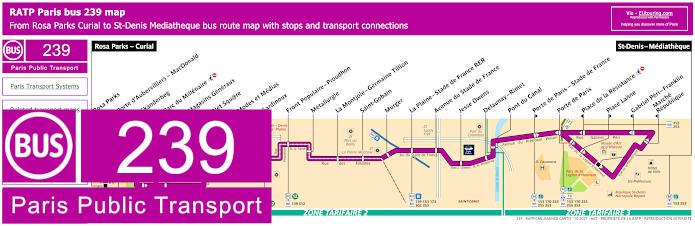 Paris Bus Line 239 Map With Stops