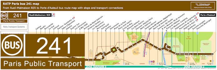 Paris Bus Line 241 Map With Stops