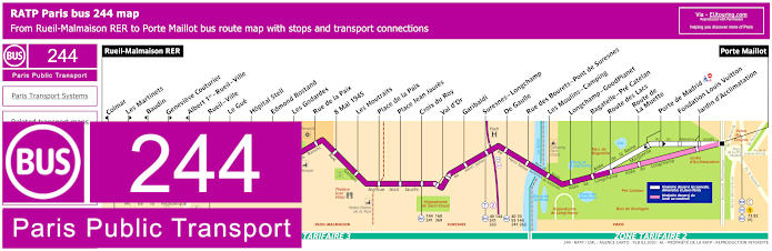 Paris Bus Line 244 Map With Stops
