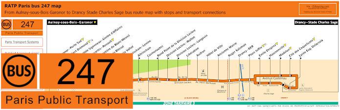 Paris Bus Line 247 Map With Stops