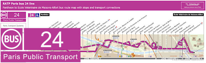 Paris Bus Line 24 Map With Stops