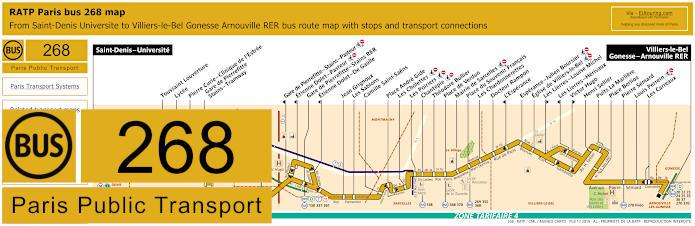 Paris Bus Line 268 Map With Stops
