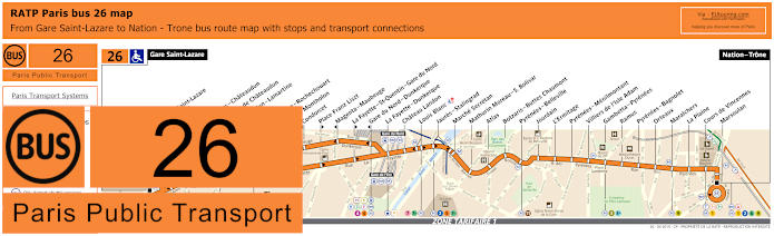 Paris Bus Line 26 Map With Stops
