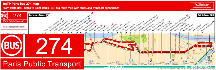 Paris Bus Line 274 Map With Stops