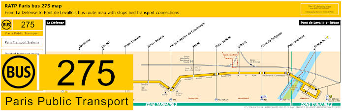 Paris Bus Line 275 Map With Stops