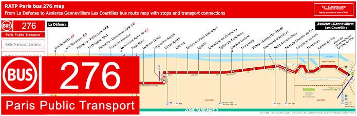 Paris Bus Line 276 Map With Stops