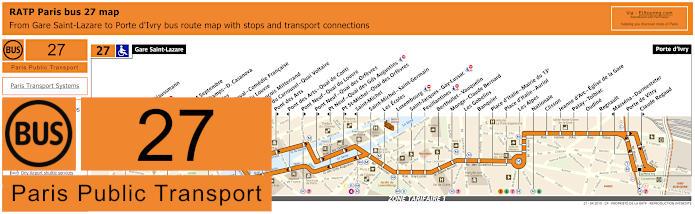 Paris Bus Line 27 Map With Stops