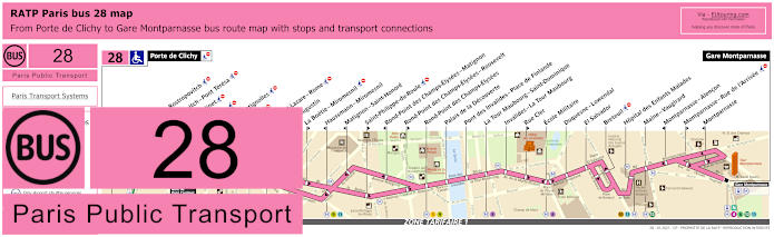 Paris Bus Line 28 Map With Stops