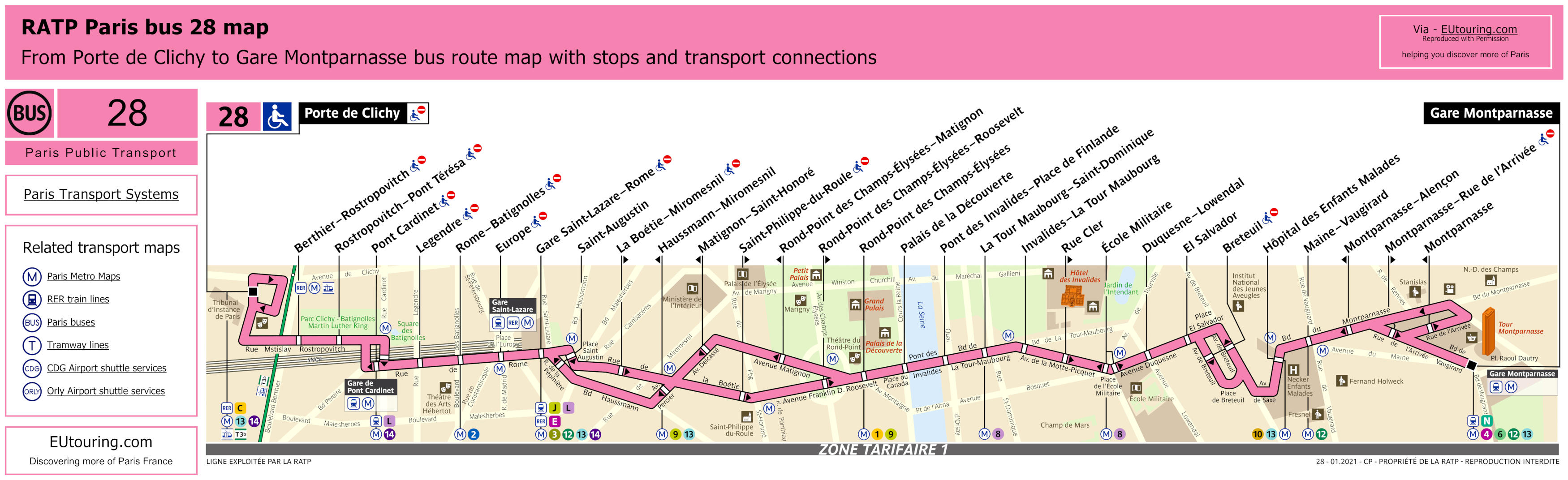Paris Bus Maps And Timetables For Bus Lines 20 To 29