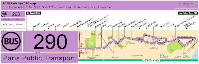 Paris Bus Line 290 Map With Stops