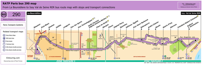 ratp route maps for paris bus lines 290 through to 299. Black Bedroom Furniture Sets. Home Design Ideas