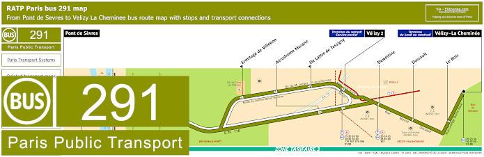 Paris Bus Line 291 Map With Stops