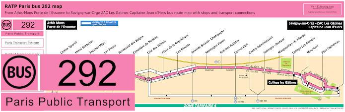 Paris Bus Line 292 Map With Stops