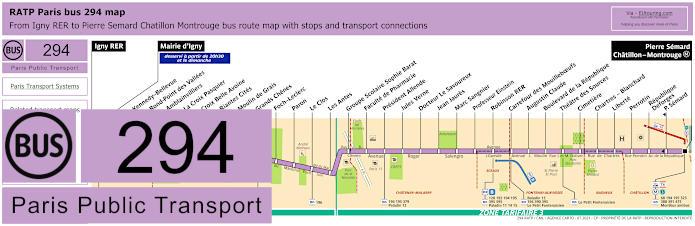 Paris Bus Line 294 Map With Stops