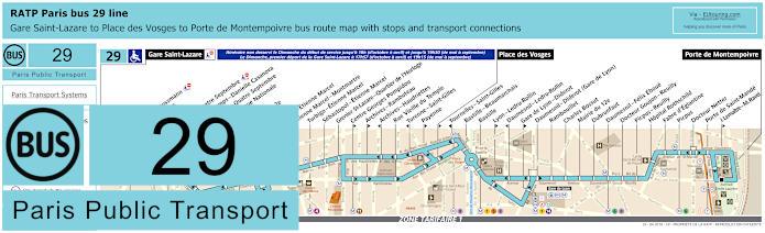 Paris Bus Line 29 Map With Stops