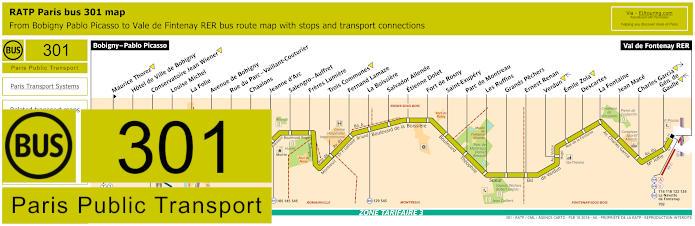 Paris Bus Line 301 Map With Stops