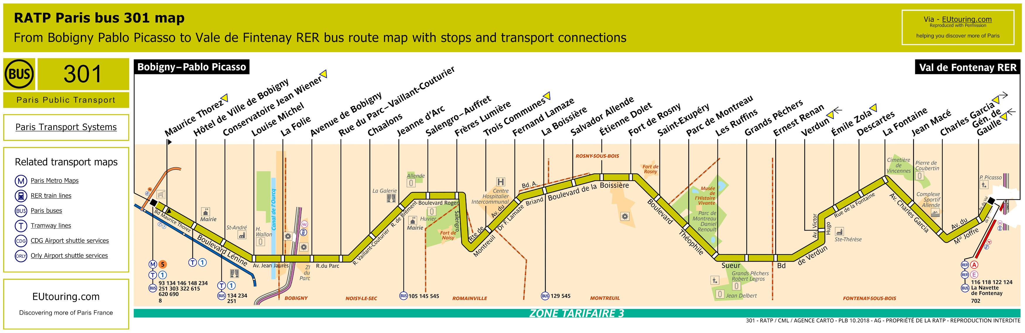 RATP Route Maps For Paris Bus Lines Through To - Us route 301 map