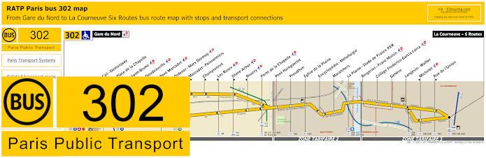 Paris Bus Line 302 Map With Stops