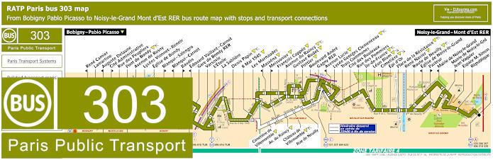 Paris Bus Line 303 Map With Stops