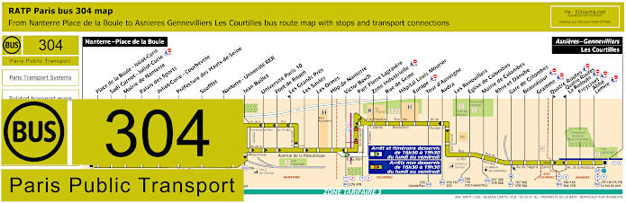 Paris Bus Line 304 Map With Stops