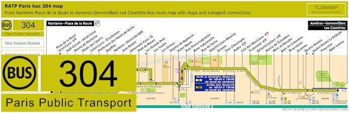Paris Bus Line 304 Map With Stops