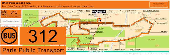 Paris Bus Line 312 Map With Stops