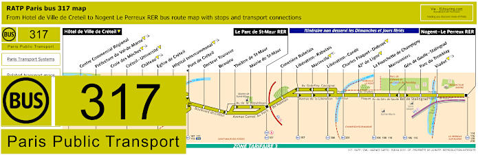Paris Bus Line 317 Map With Stops