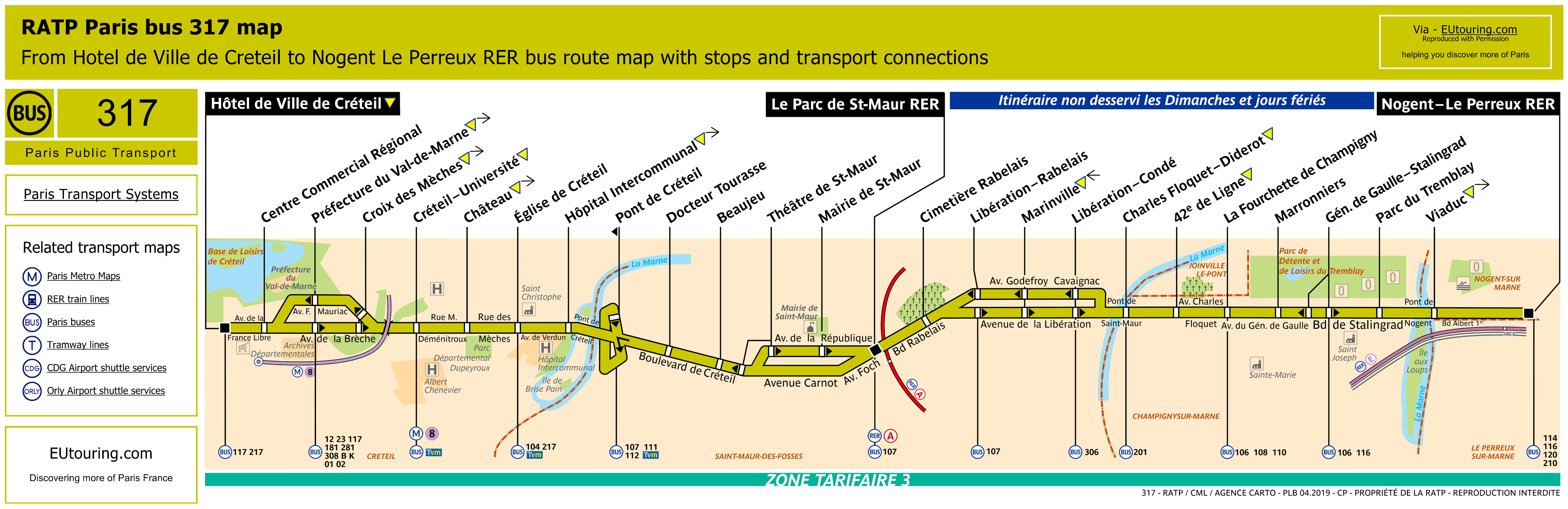 ratp route maps for paris bus lines 310 through to 319