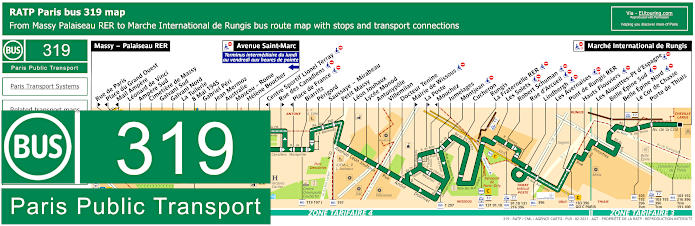 Paris Bus Line 319 Map With Stops