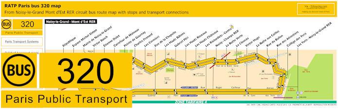 Paris Bus Line 320 Map With Stops