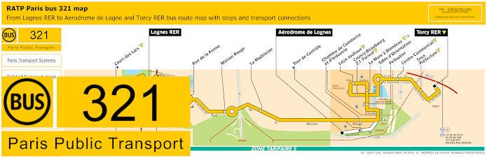 Paris Bus Line 321 Map With Stops