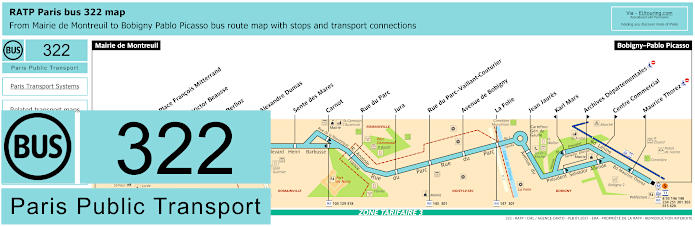 Paris Bus Line 322 Map With Stops